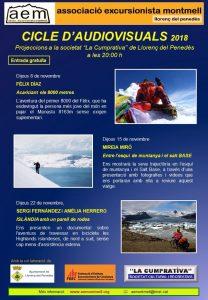 Poster ciclo audiovisuales 2018 Assoc. Excursionista Montmell Llorenç del Penedès